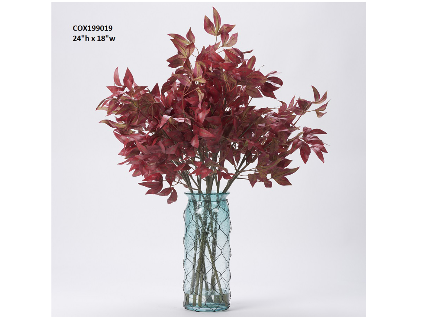 "Red Maple Branches In Aqua Glass Vase 18""W x 24""H"