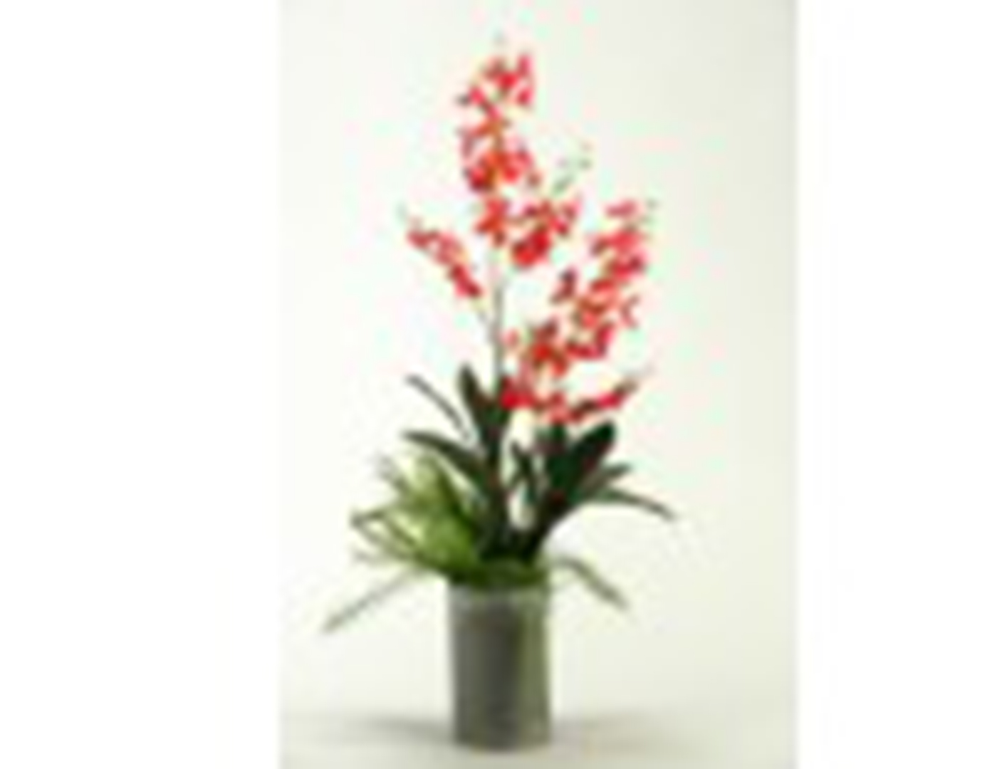 "Red Orchids in Metal Vase 14""W x 32""H"