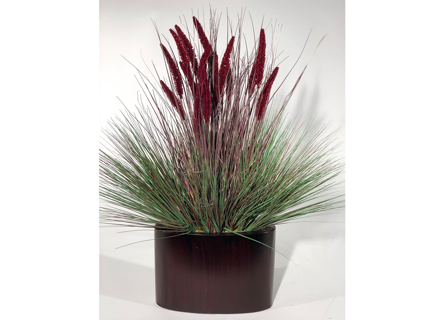 Burgundy Onion Grass In Oval Metal Planter