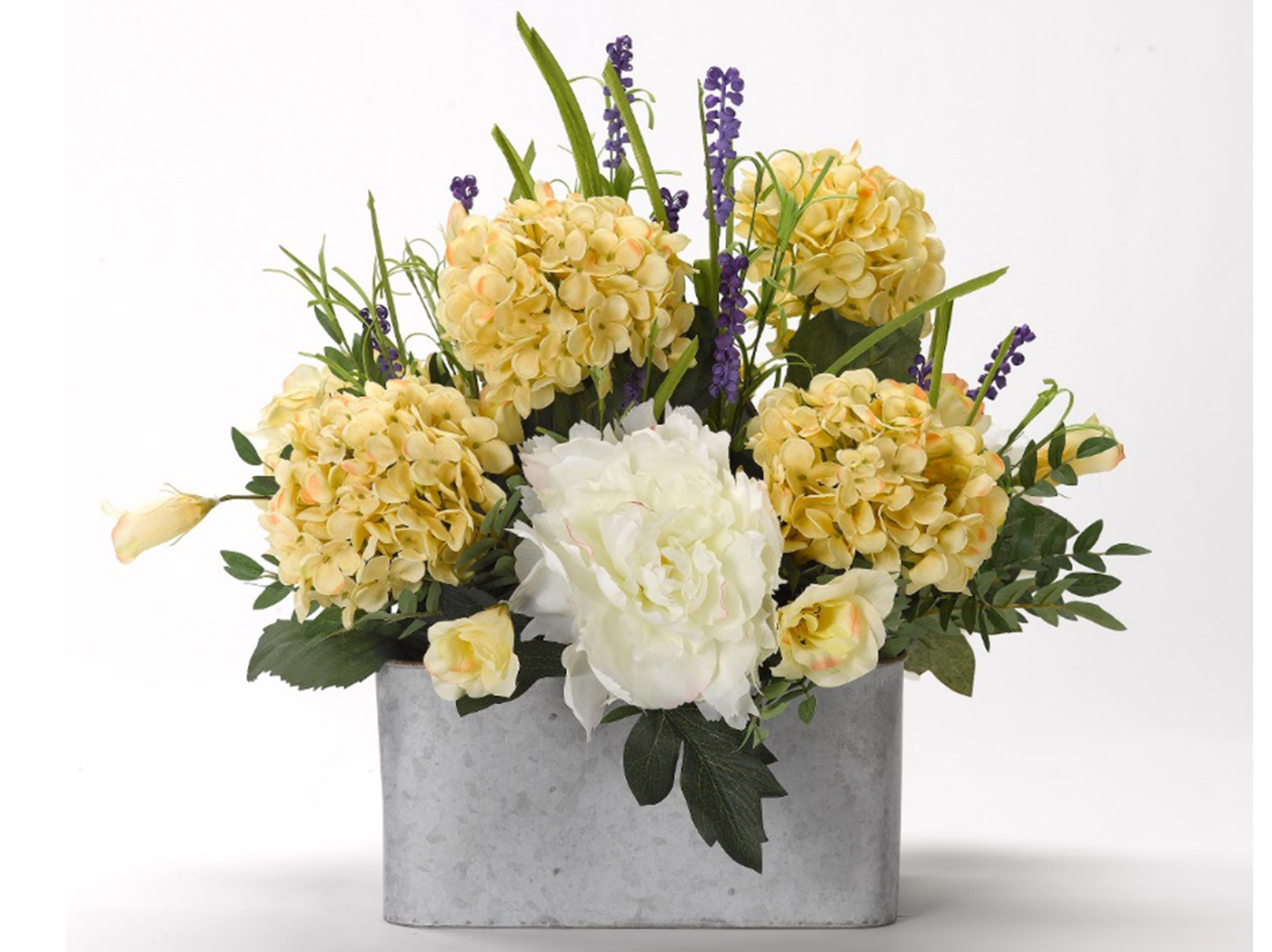 "Yellow Hydrangeas in Metal Planter 24""W x 22""H"