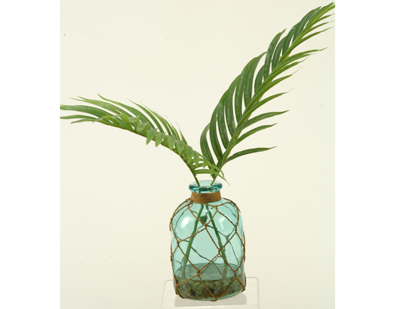 "Small Palm in Blue Glass Bottle 17""W x 21""H"