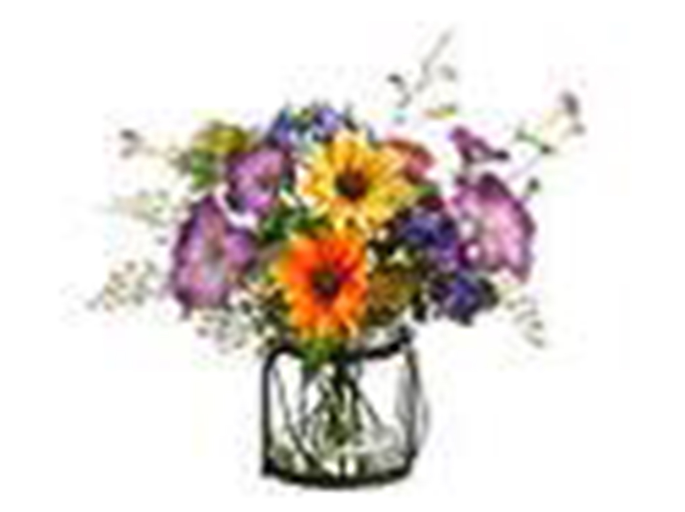 "Mixed Daisy and Morning Glory Flowers In Glass and Metal Vase 11""H"