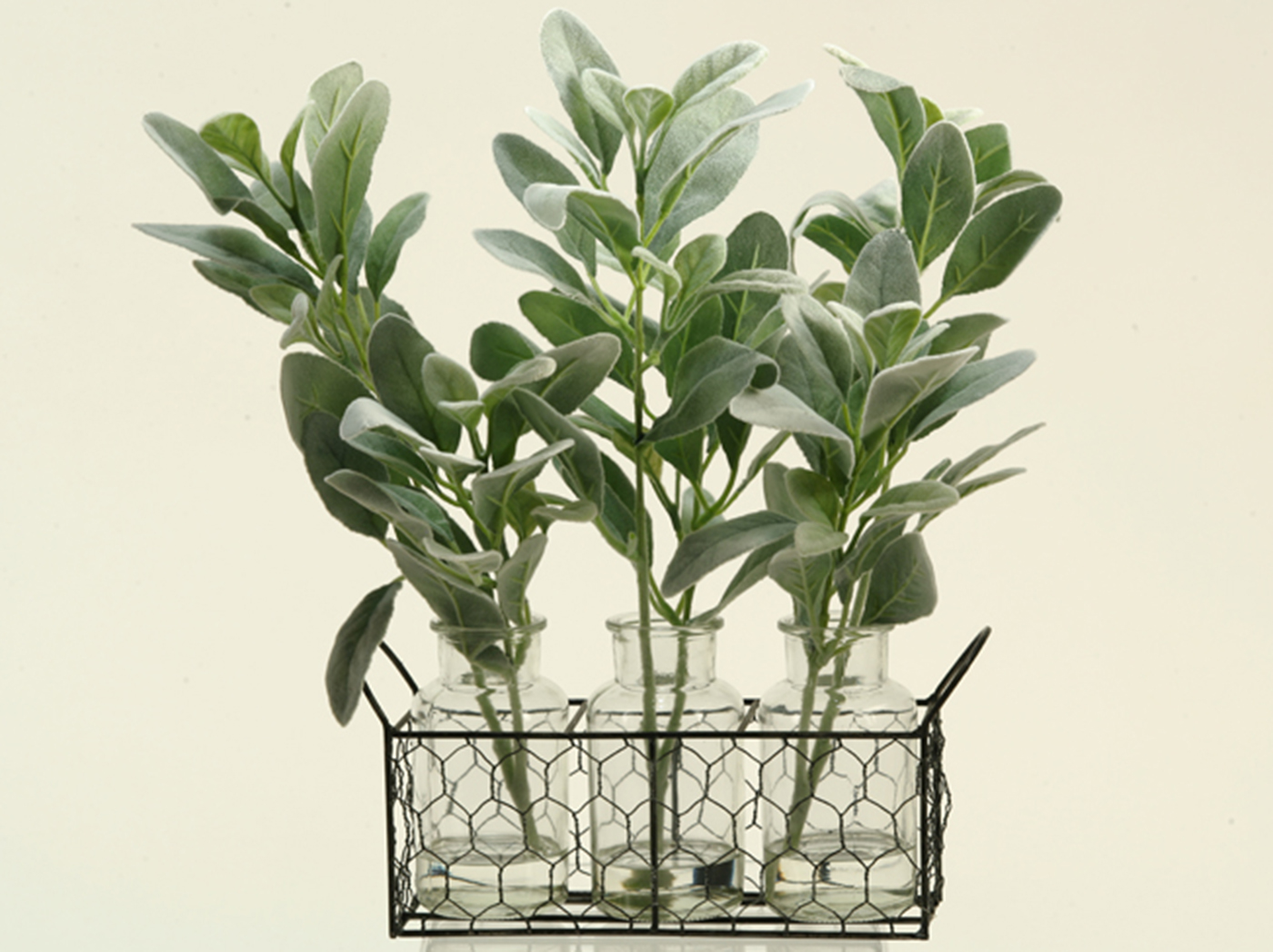 "Grey and Green Branches in Glass Jars and Basket 11""W x 15.5""H"