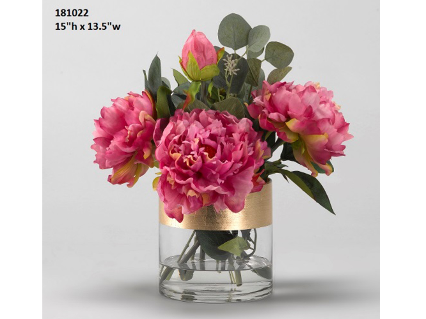 "Pink Peonies in Glass Vase 13.5""W x 16""H"