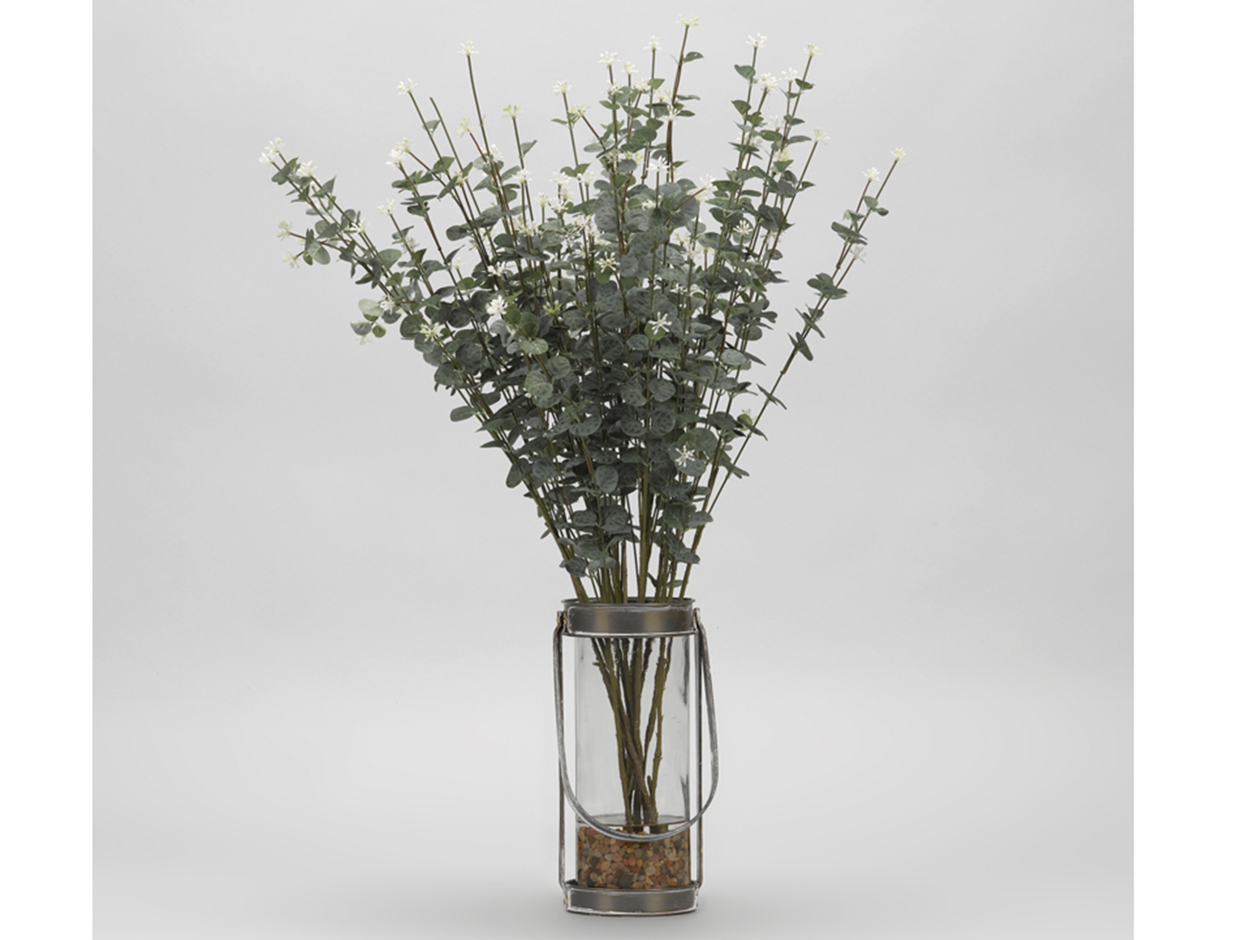 "Eucalyptus Branches in Glass Vase 20""W x 29""H"