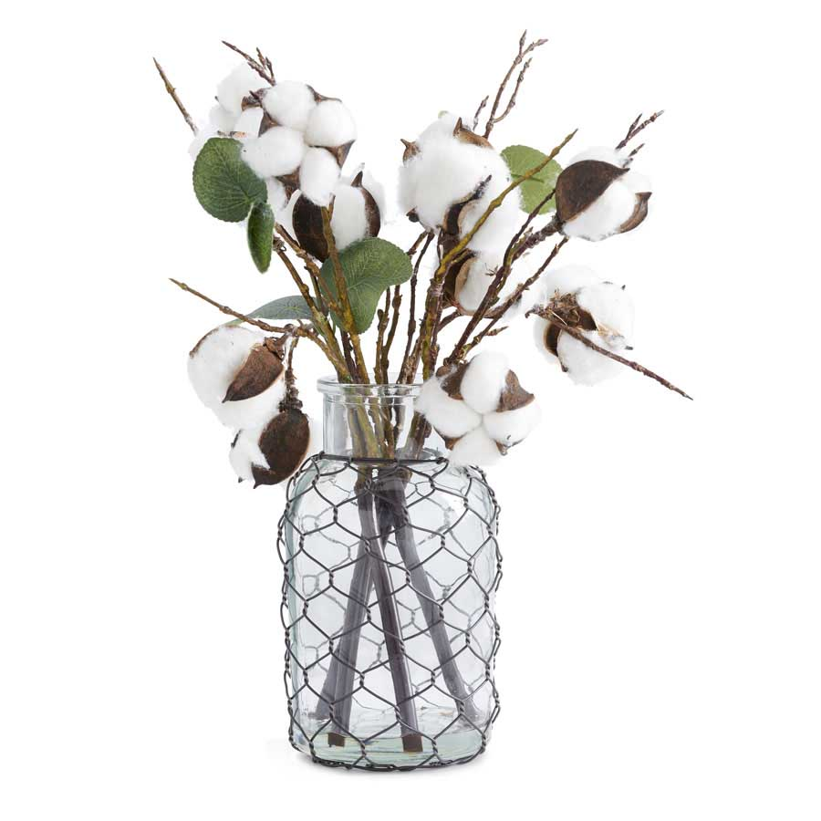 "Cotton Pod and Glass Bottle Arrangement 12""H"