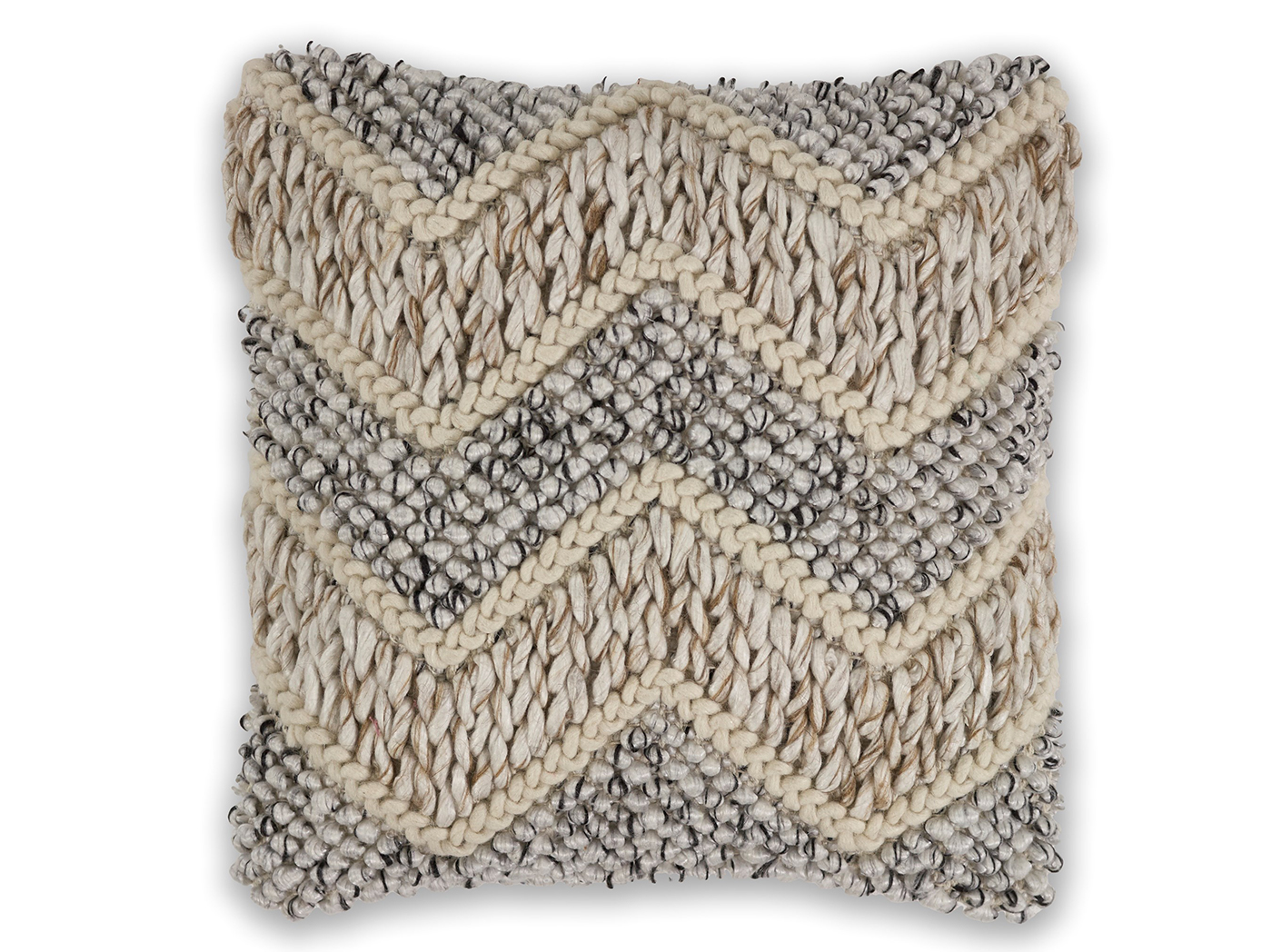 "Beige/Grey Elements Wool Pillow 18""W x 18""H"