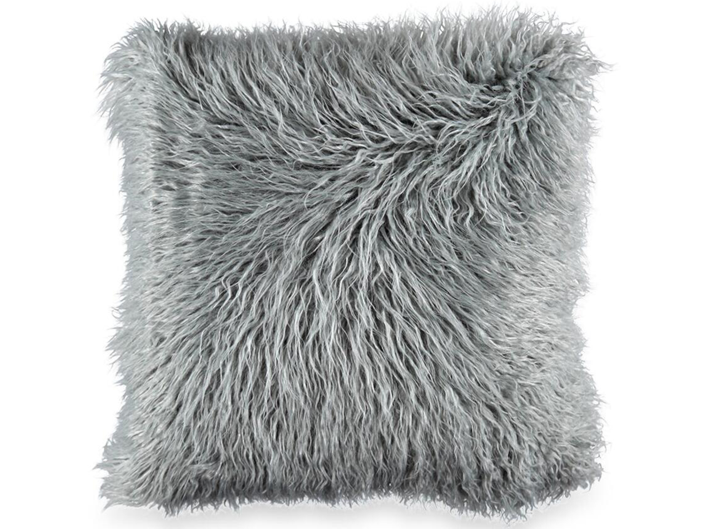"Grey Mongolian Fur Pillow 18""W x 18""H"