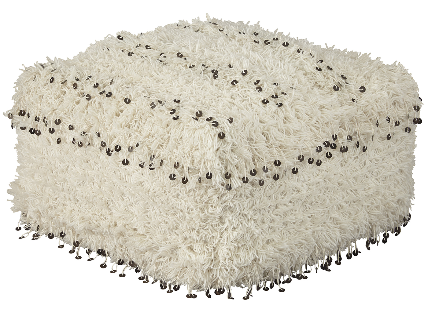 "Cream Shag & Sequin Pouf 20""W x 12""H"