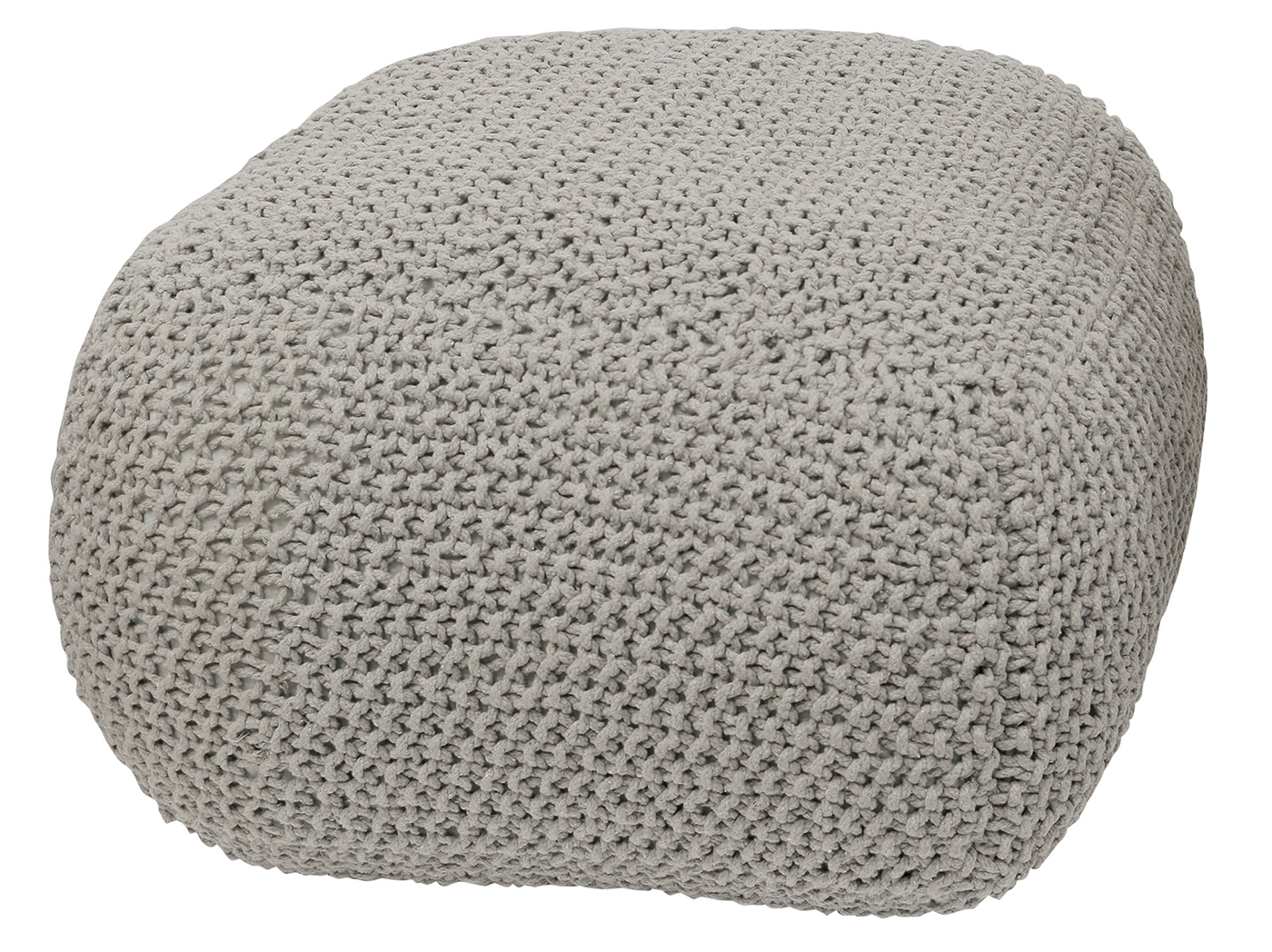 "Grey Knit Cotton Pouf 28""W x 16""H"