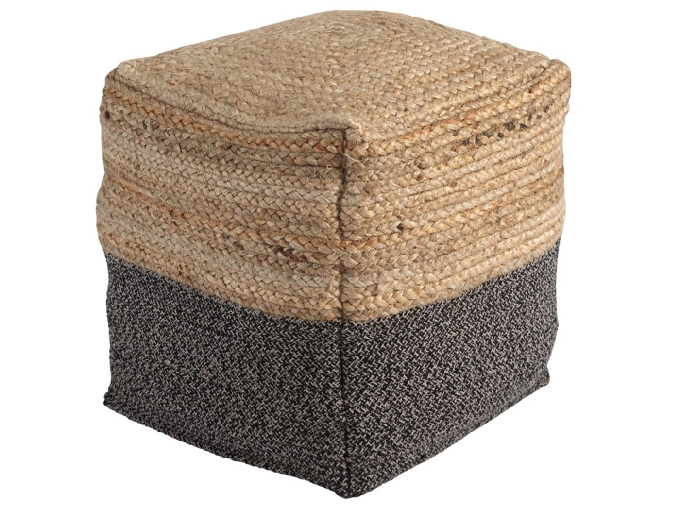 "Natural and Black Jute Pouf 16""W x 16""H"