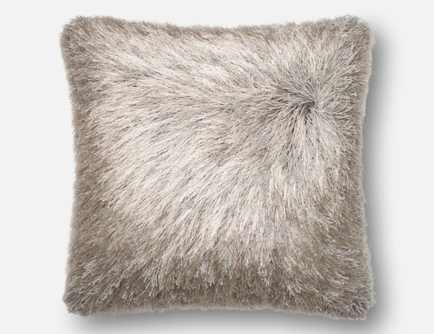 Silver Fluffy Faux Fur Pillow 22""