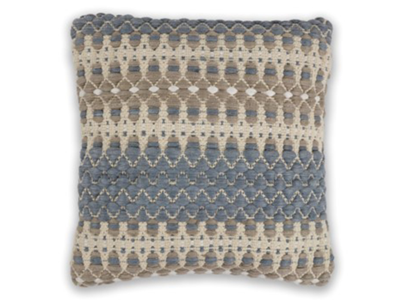 "Blue/Beige Laguna Wool Pillow 18""W x 18""H"