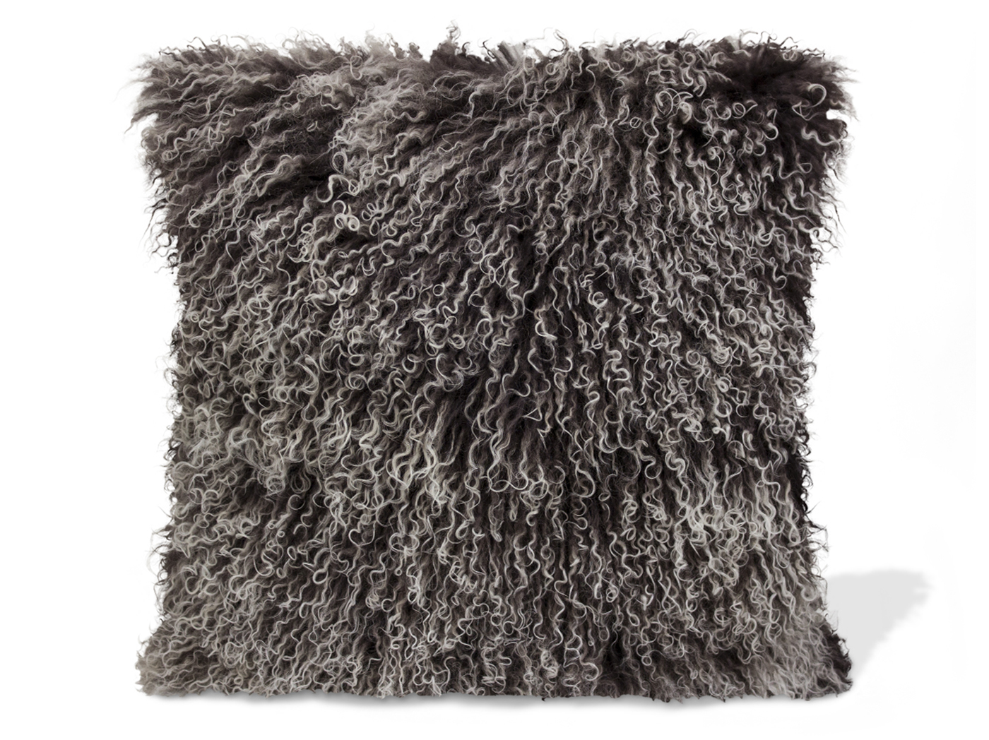 Grey Ombre Lamb Fur Pillow 15.75""