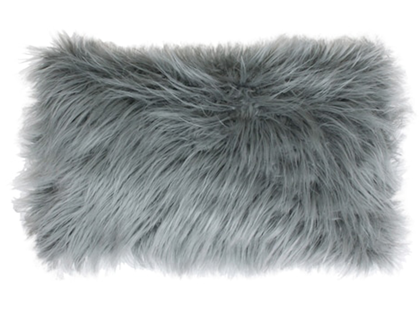 "Grey Mongolian Fur Pillow 24""W x 16""H"