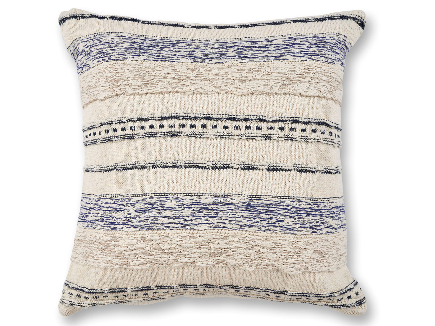 "Ivory/Blue Stripe Juno Wool Pillow 20""W x 20""H"