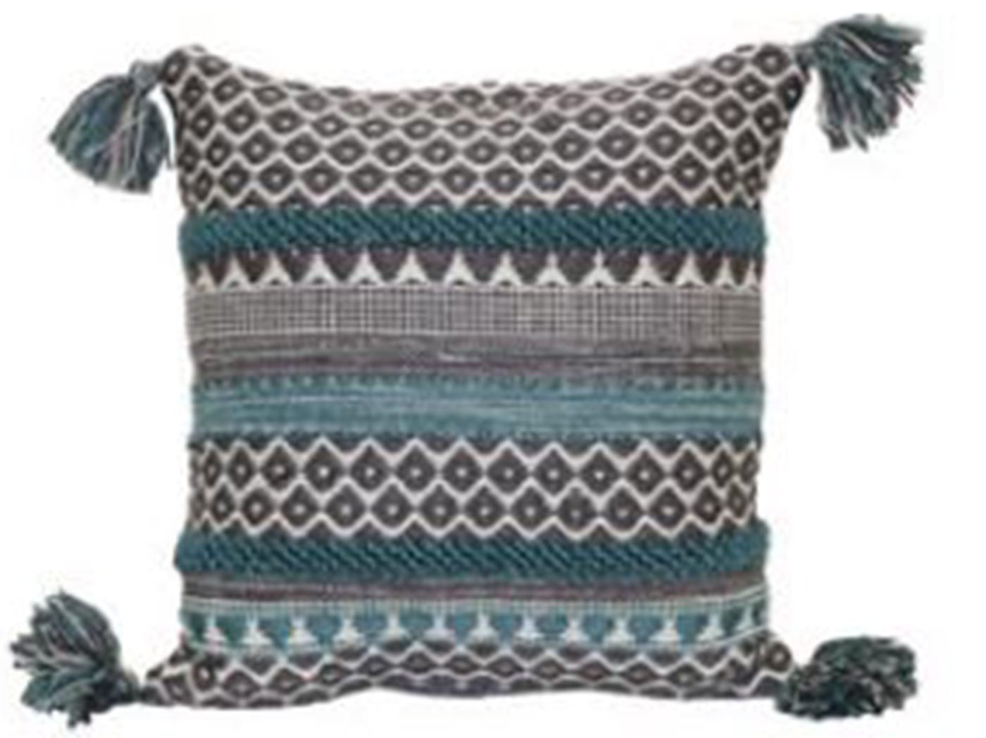 "Teal Pattern Stripe Pillow 18""W x 18""H"