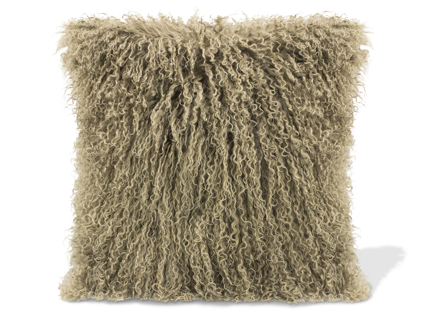 Taupe Lamb Fur Pillow 15.75""