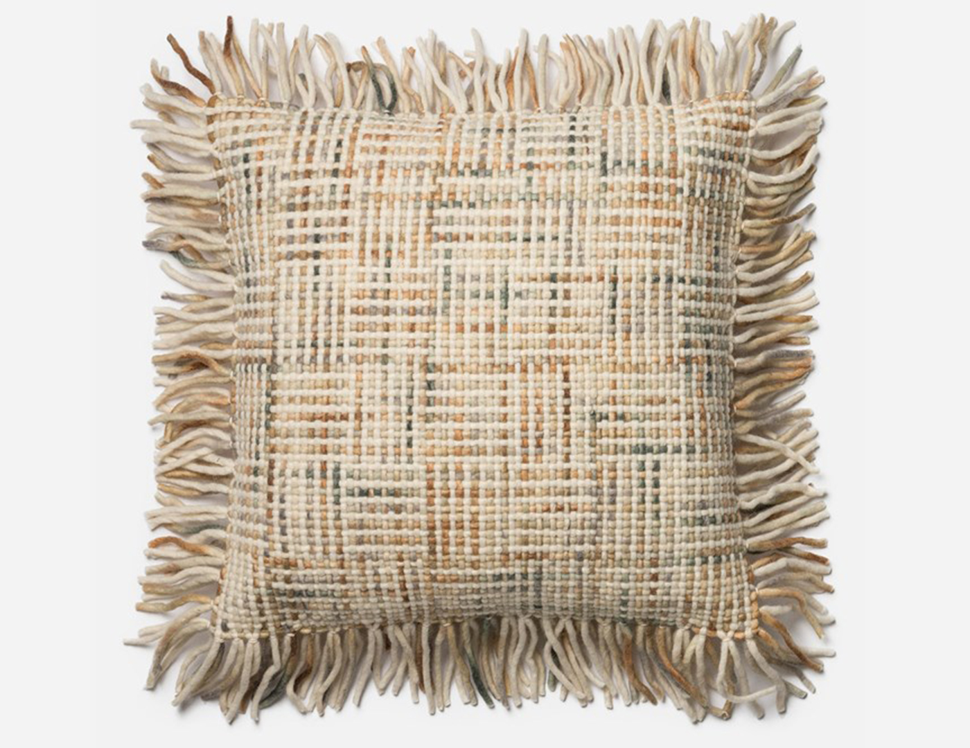 Fringe Woven Tan and Gray Decorative Pillow