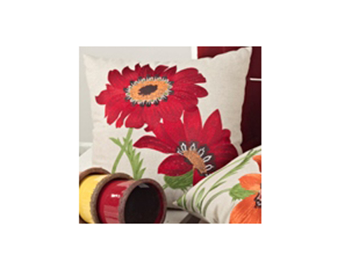 Embroidered Red Flower Pillow
