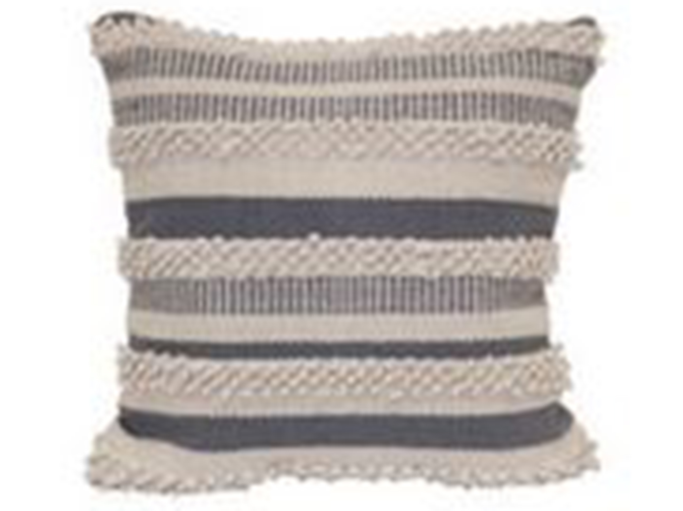 "Grey and Natural Zander Pillow 18""W x 18""H"