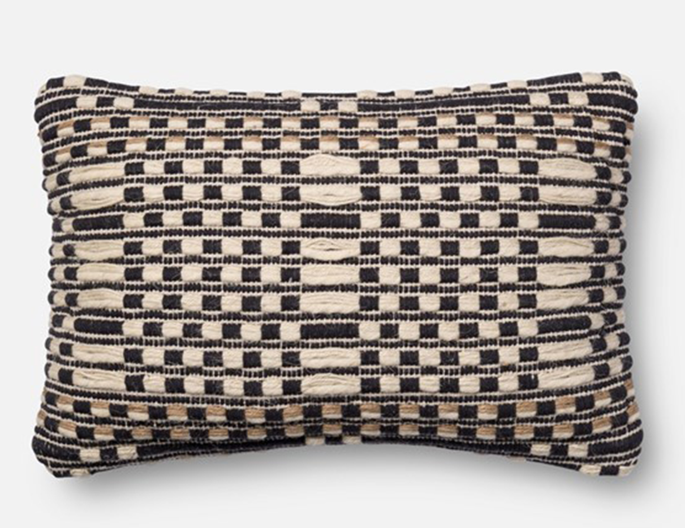 Black and Tan Squares and Lines Decorative Pillow