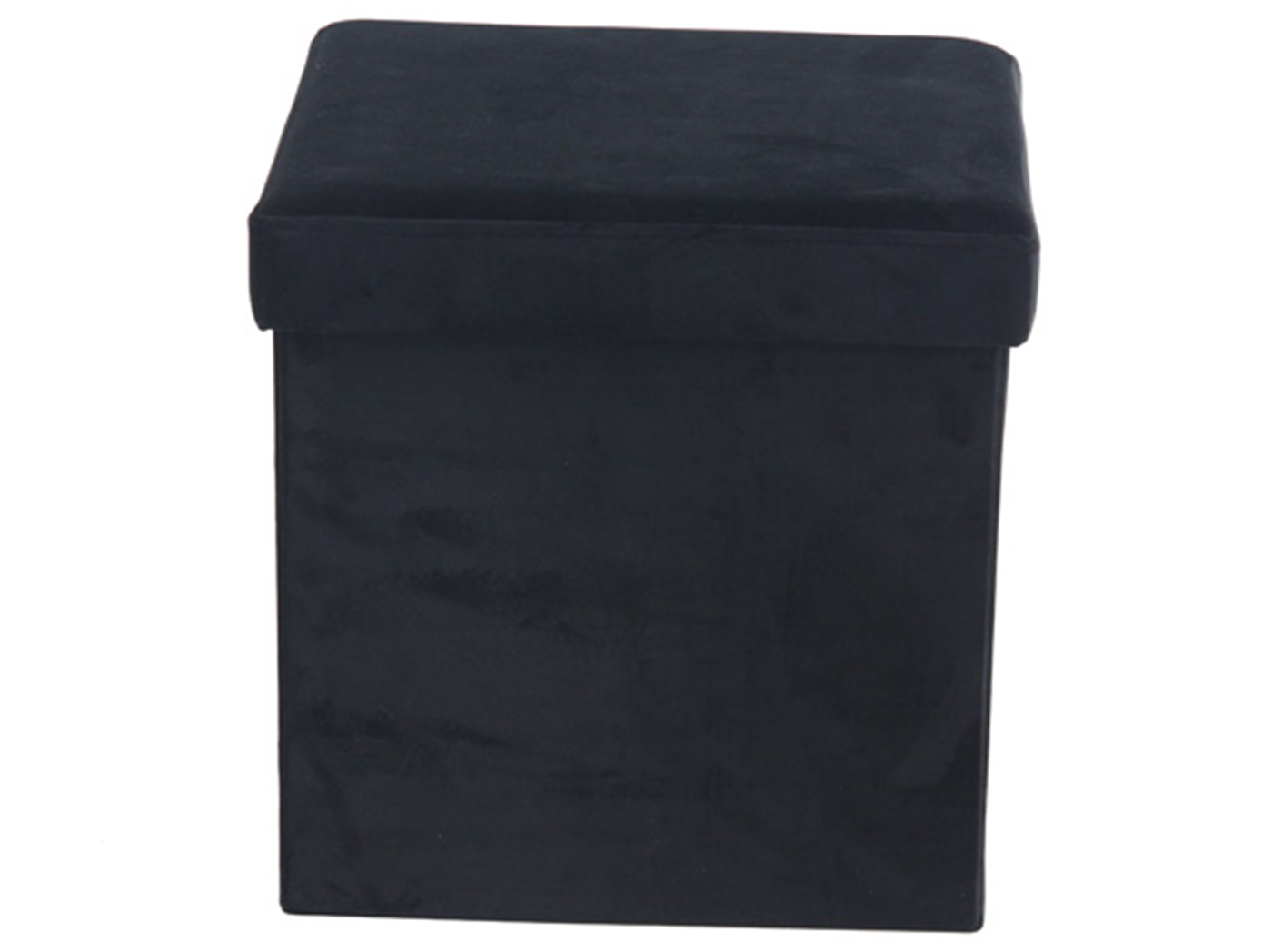 "Black Fabric Storage Stool 17""W x 15""H"