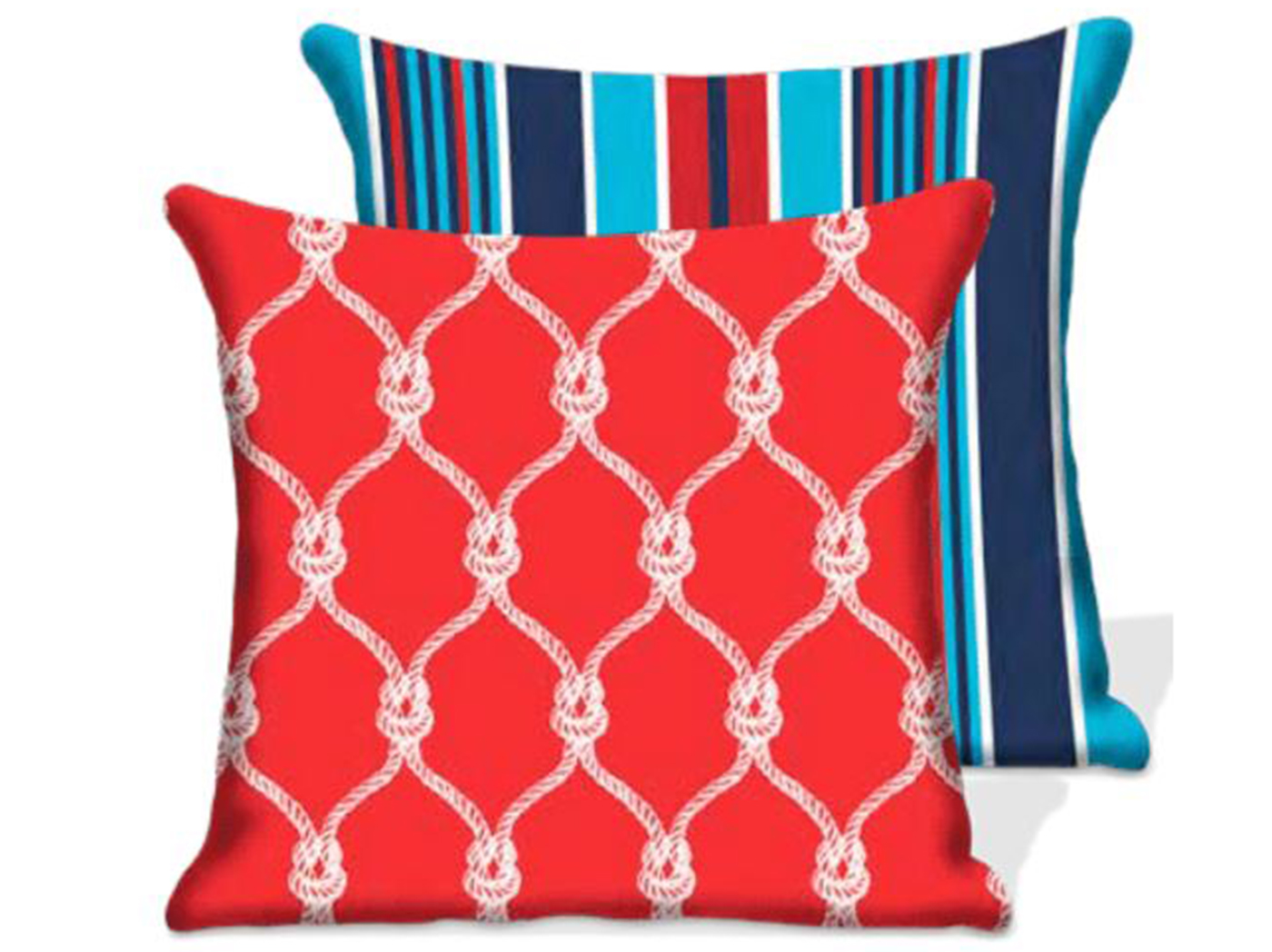 Nautical Red Ropes Outdoor Pillow 17""