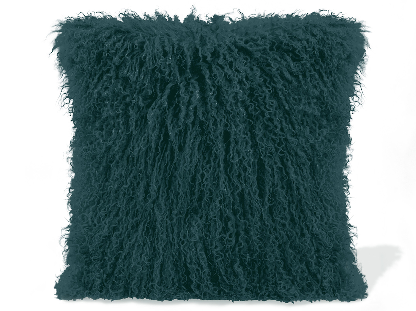 Teal Lamb Fur Pillow