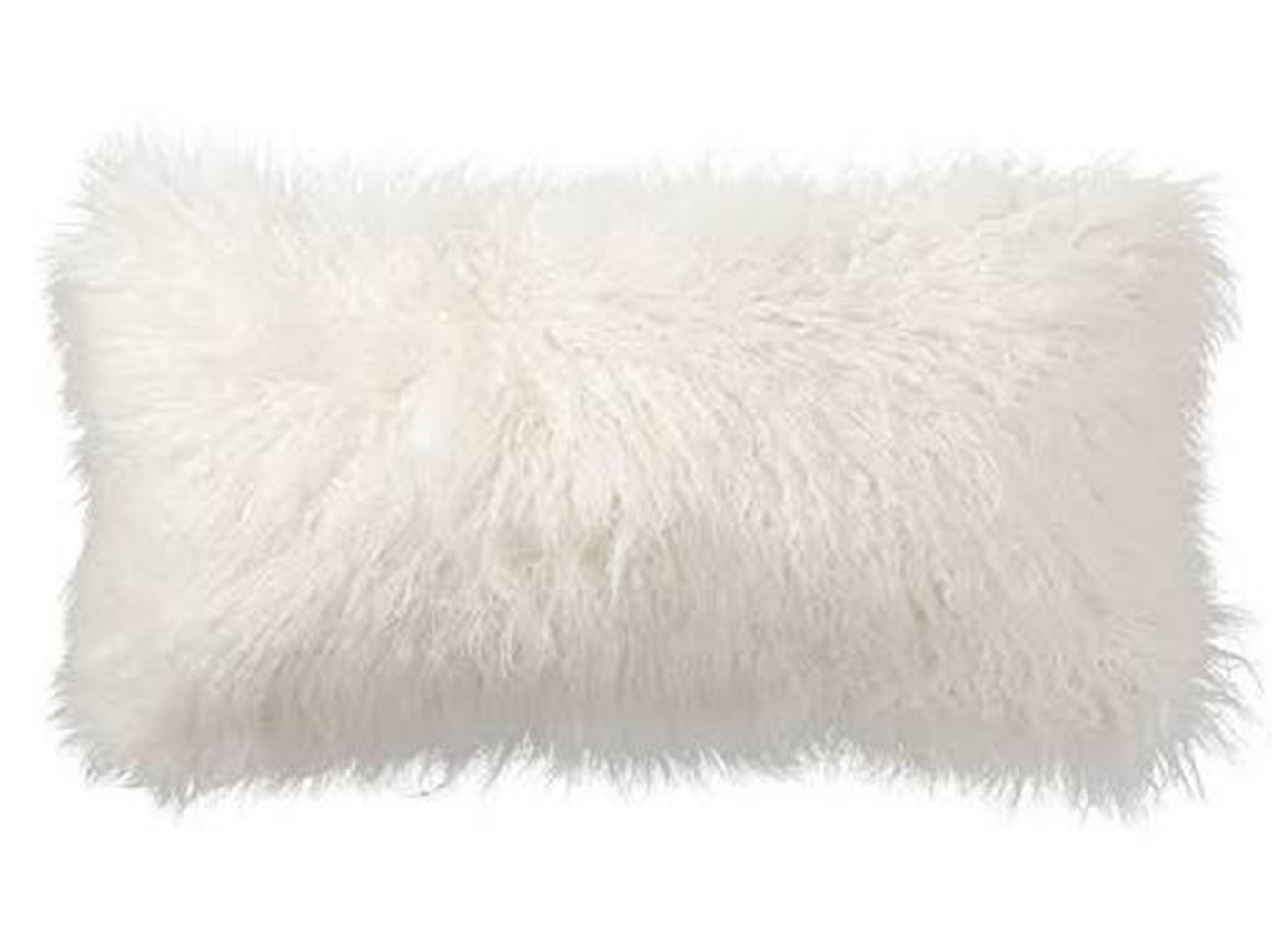 "White Mongolian Fur Pillow 24""W x 16""H"