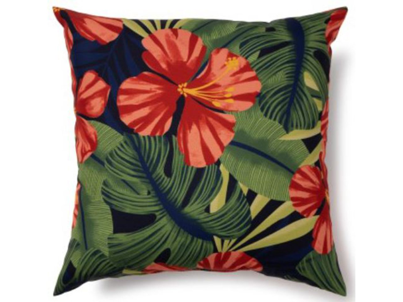 "Lanai Hibiscus Outdoor Pillow 17""W x 17""H"