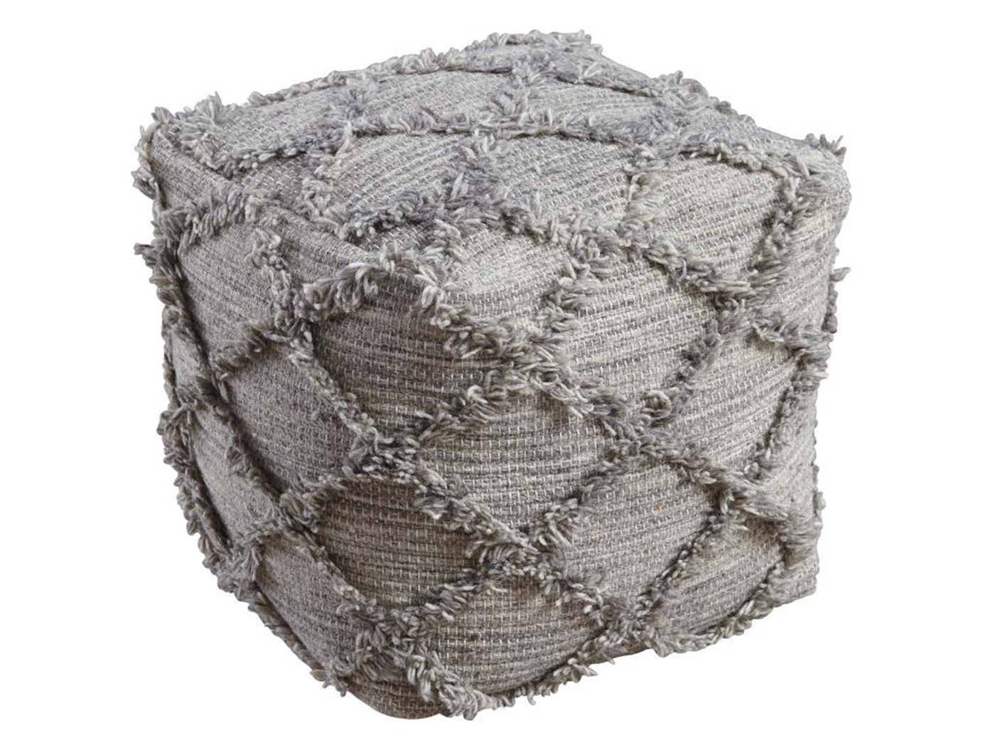 "Grey Textured Pouf 16""W x 16""H"