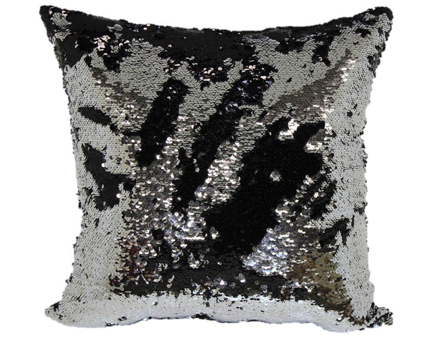 Black and Silver Mermaid Pillow 18""