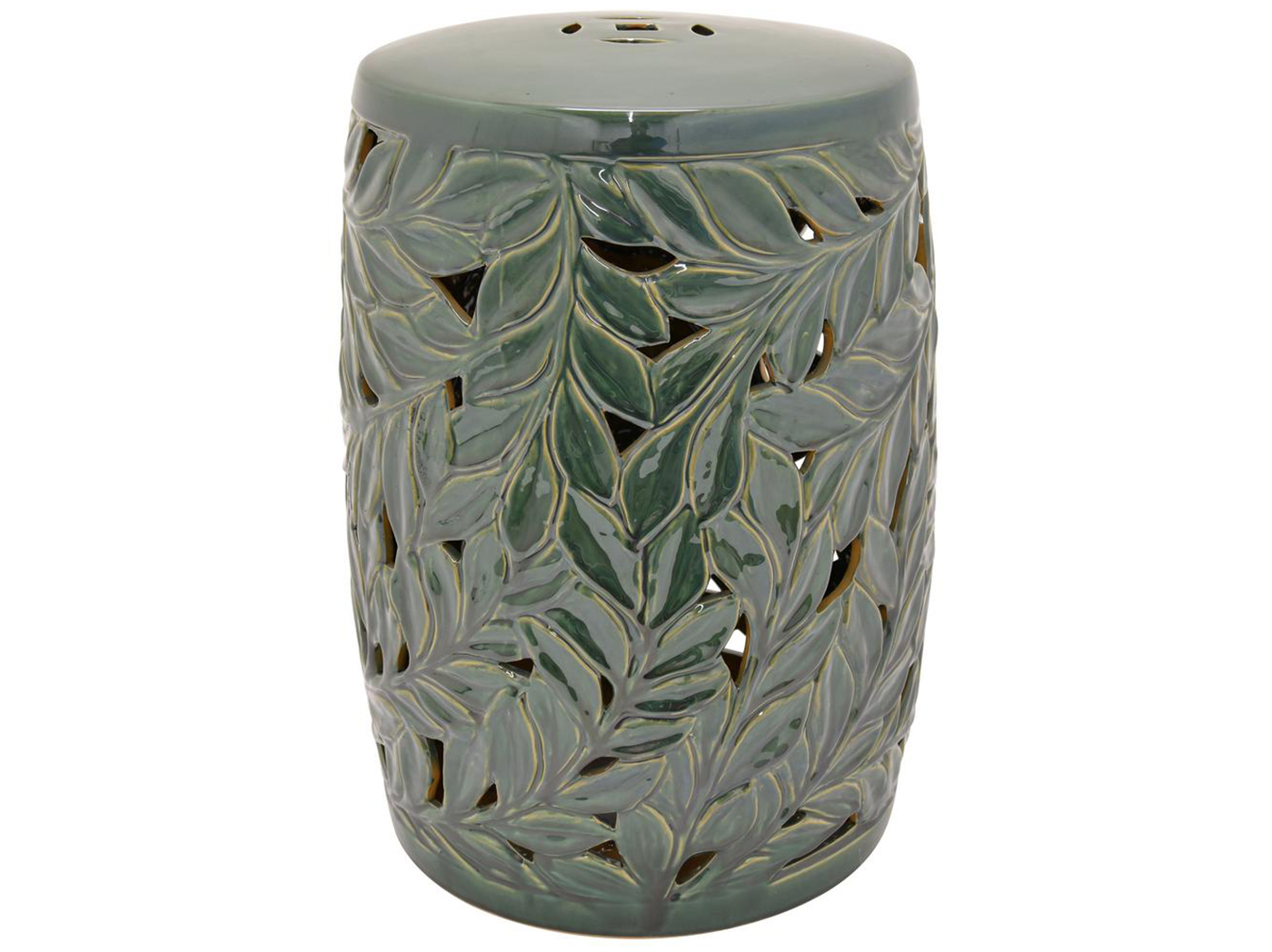 "Green Leaf Garden Stool 14""W x 19""H"