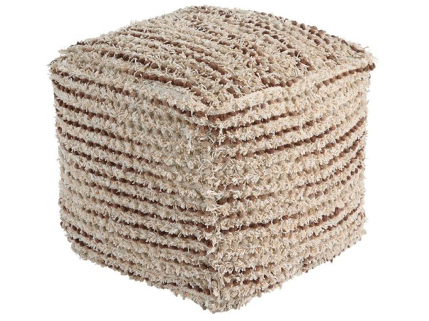 "Brown and Cream Shaggy Pouf 16""W x 16""H"