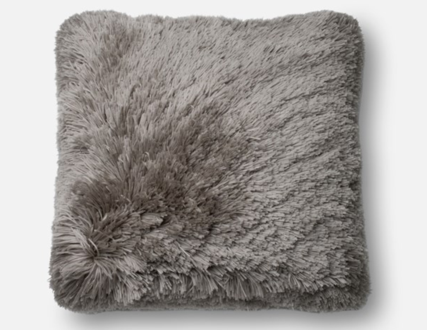 Grey Fluffy Faux Fur Pillow
