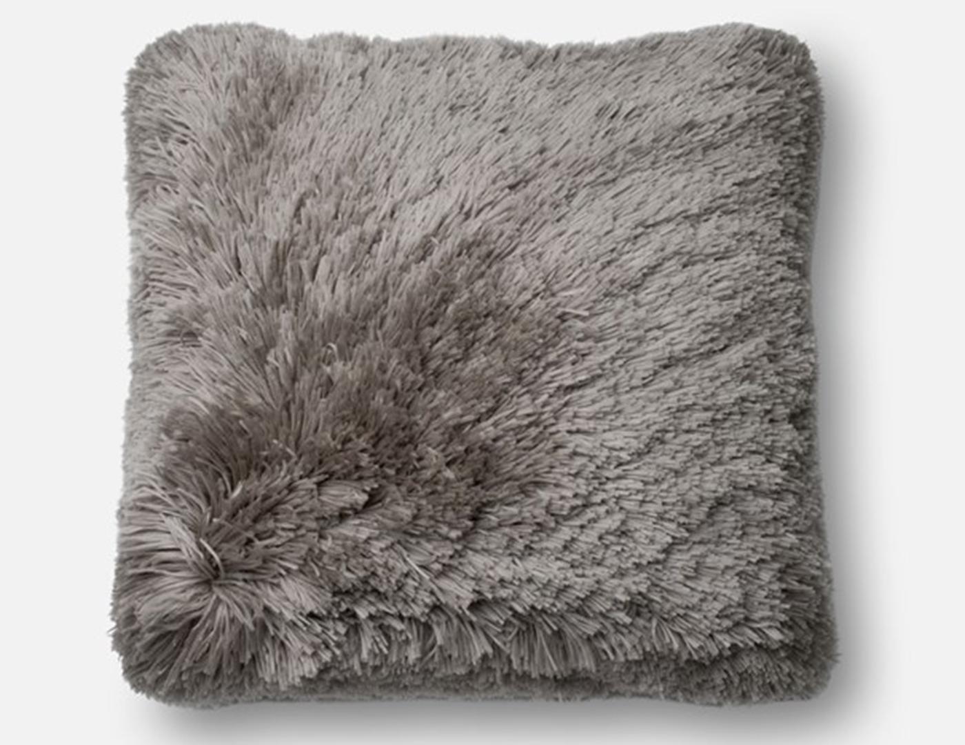 Steinhafels - Grey Fluffy Faux Fur Pillow