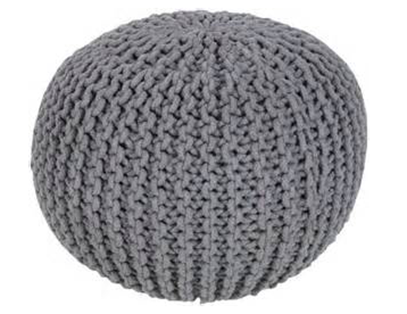 Gray Cotton Pouf 20X20X14""
