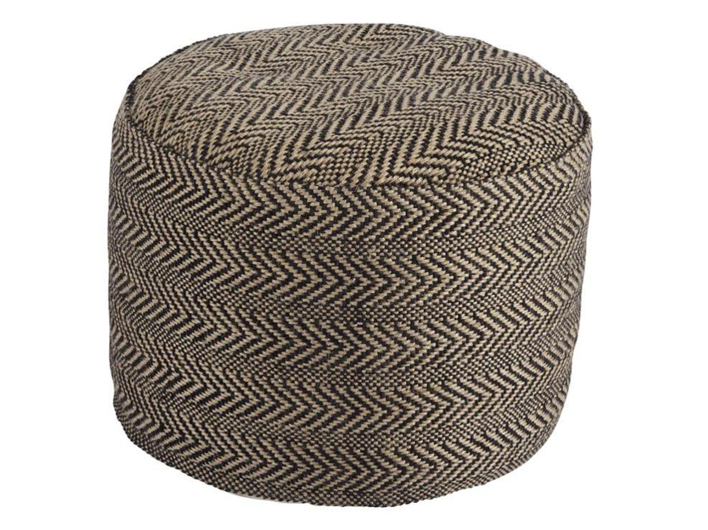 "Tan and Black Chevron Pouf 20X16.75""H"