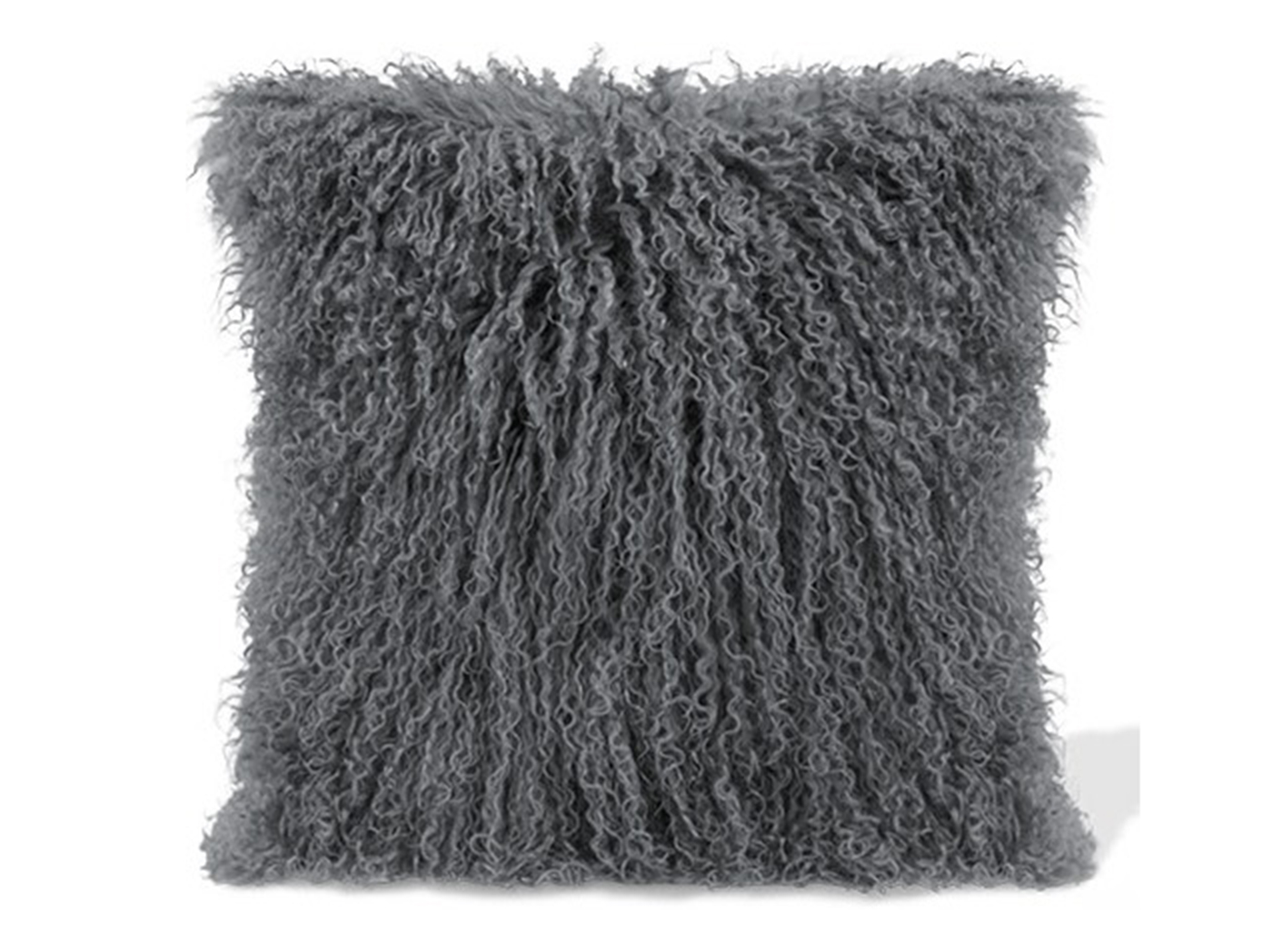 Grey Lamb Fur Pillow 15.75""