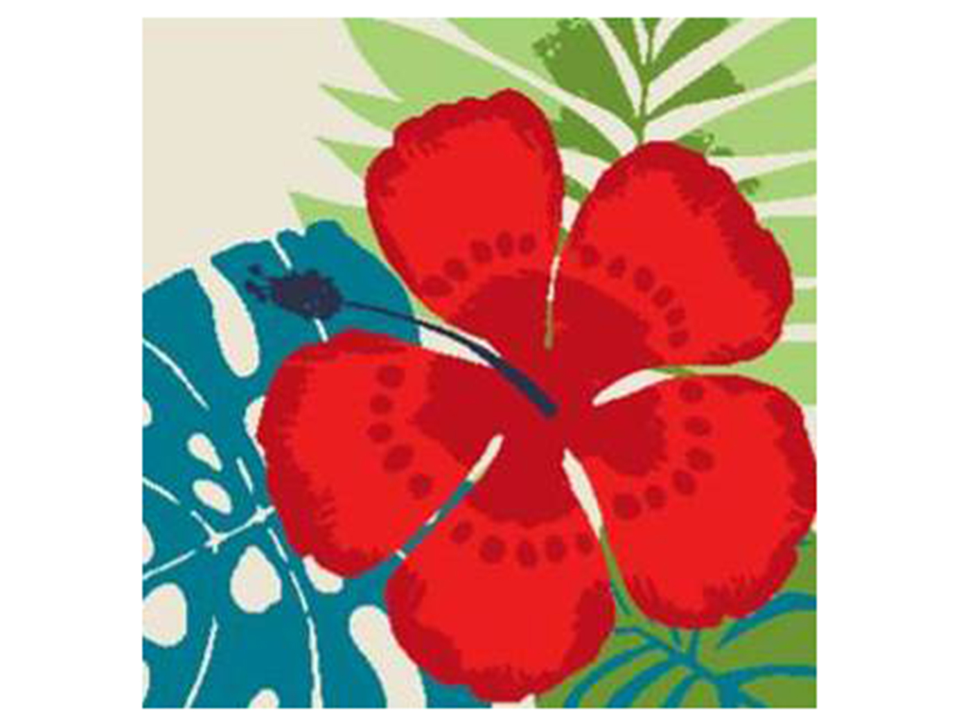 Red Hibiscus Outdoor Pillow 17""