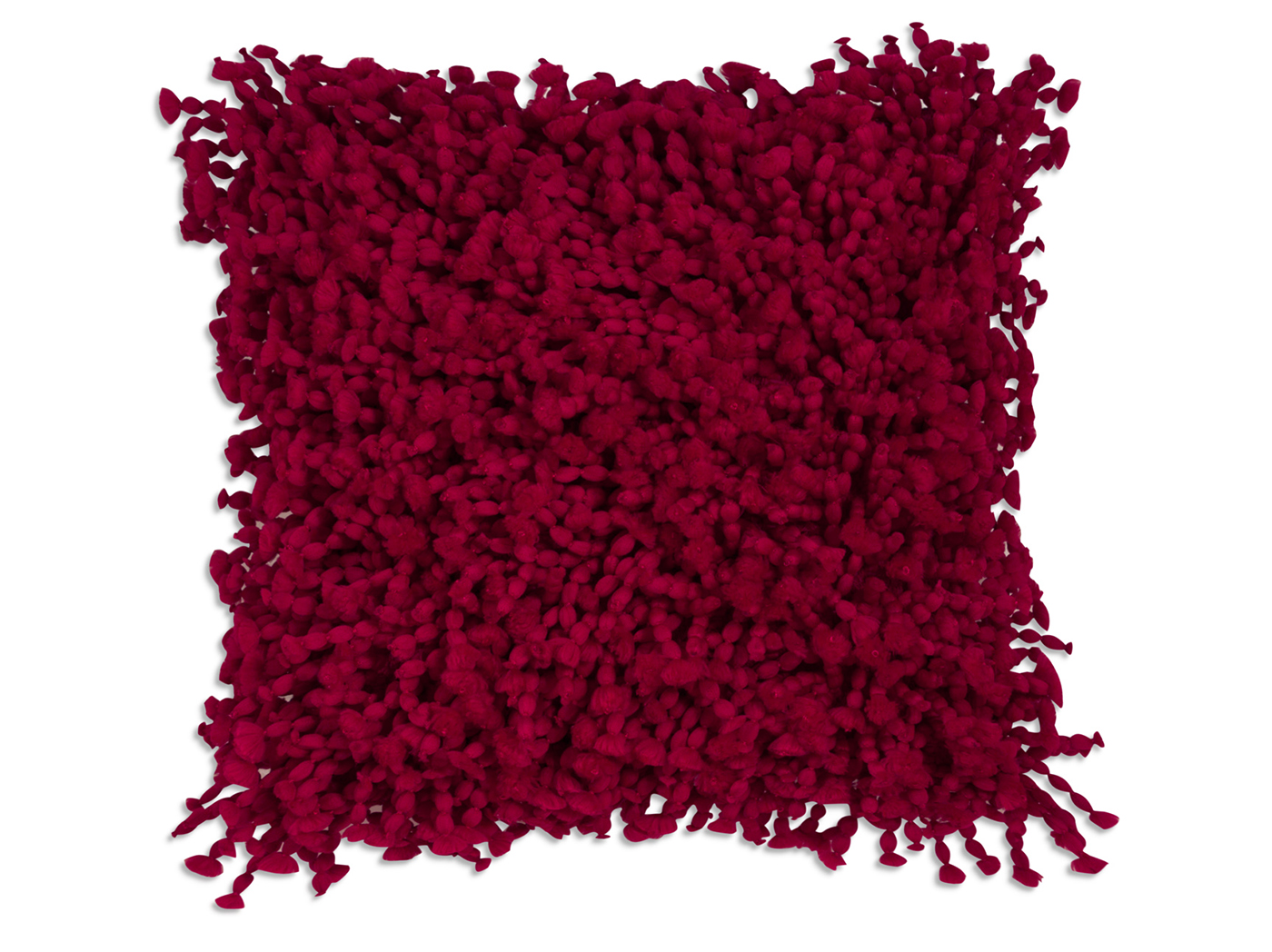 Red Shag Pillow 19""