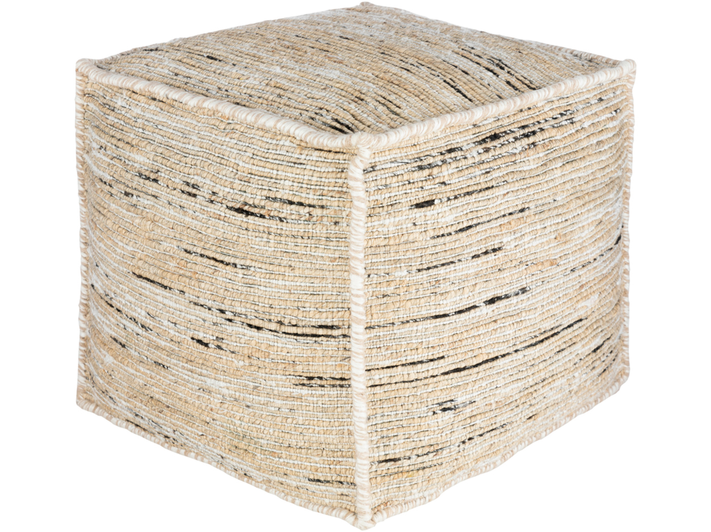 "White, Black, Butter Pouf 18""W x 18""H"