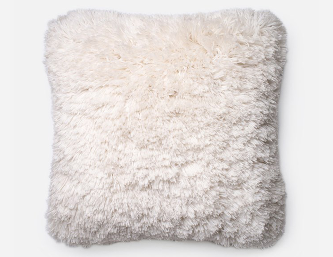Fluffy Faux Fur Ivory Decorative Pillow 22""