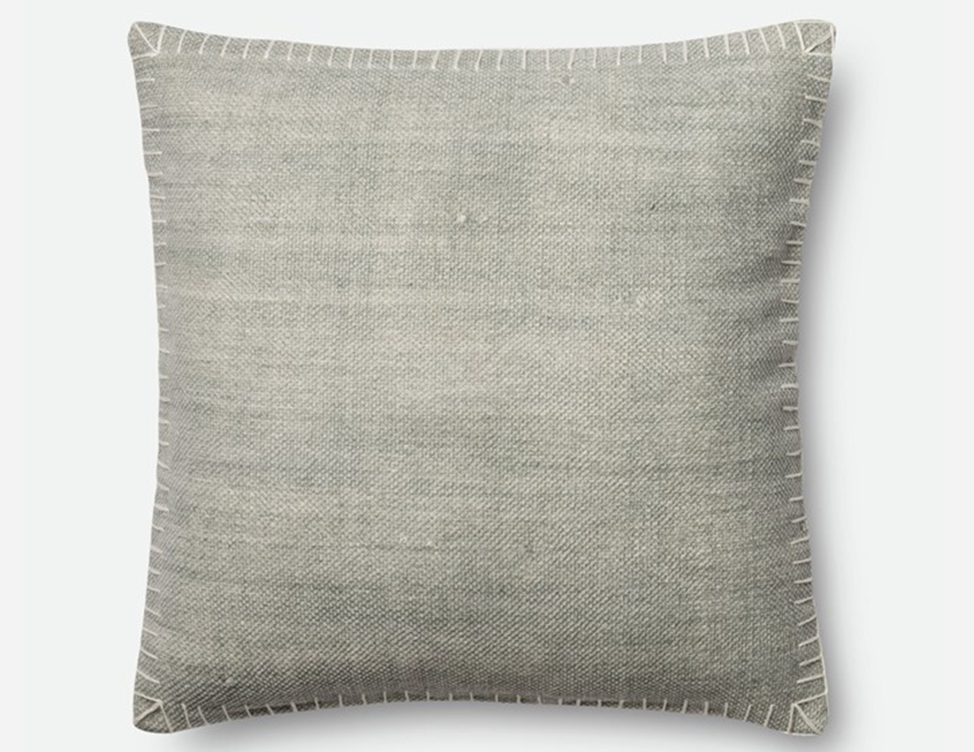 Silver and White Stitches Decorative Pillow
