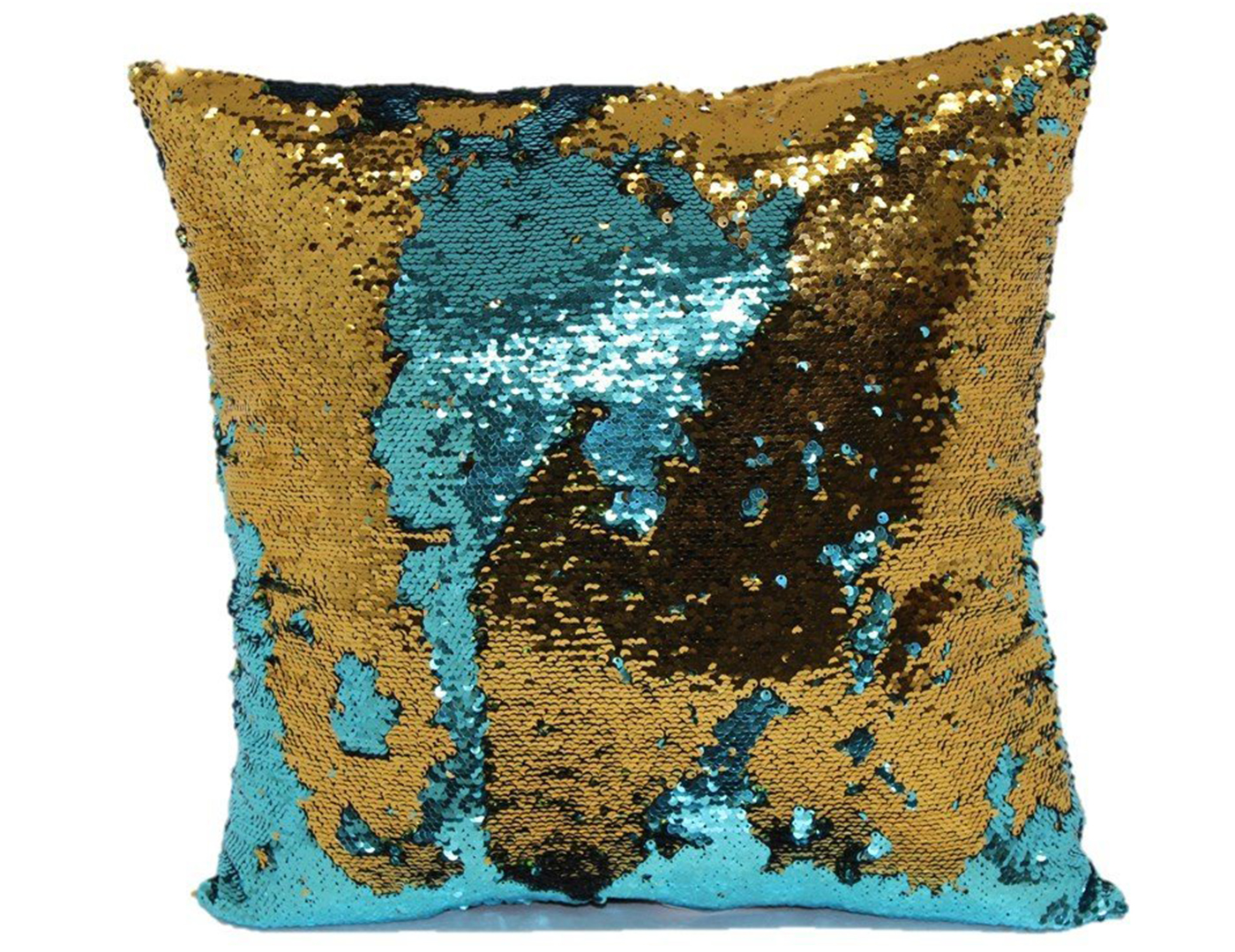 Teal and Bronze Mermaid Pillow 18""