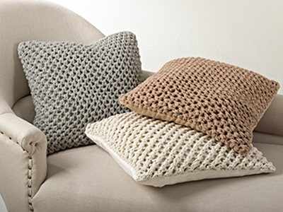 Vanilla Knitted Design Pillow 20""