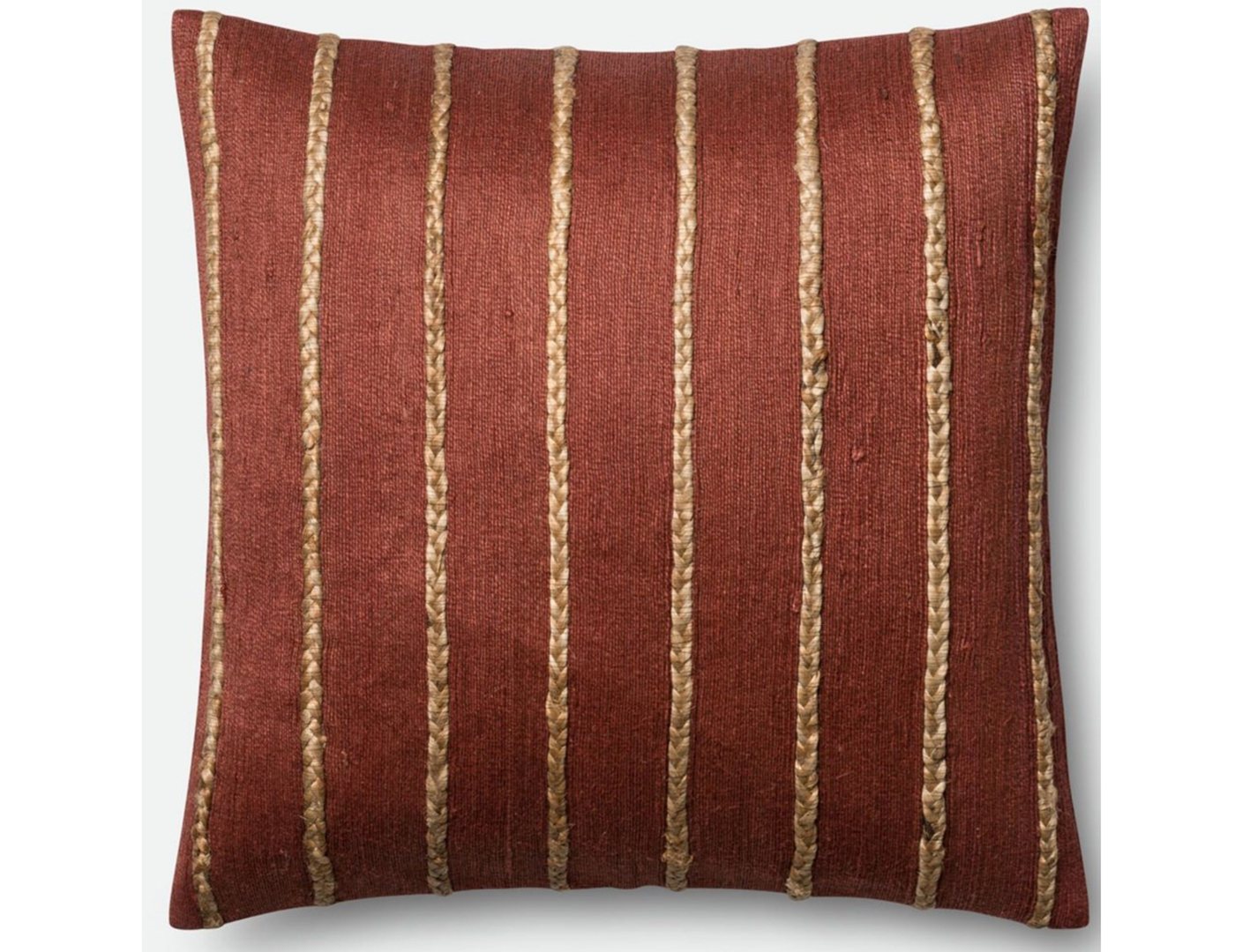 Rust and Steel Stripe Decorative Pillow