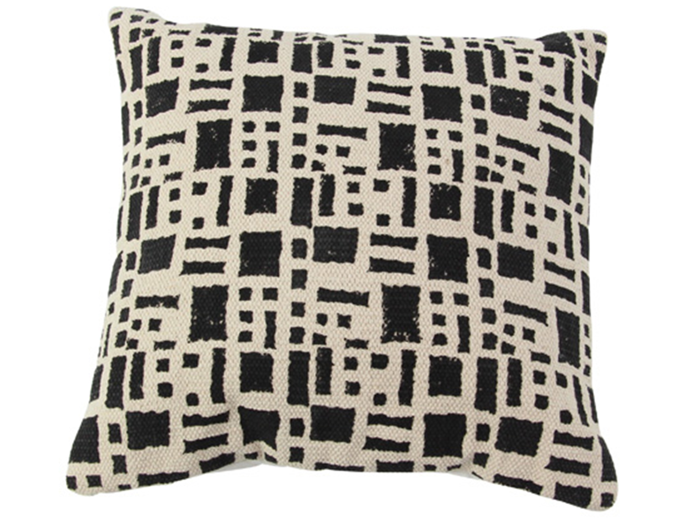 "Ivory and Black Pillow 18""W x 18""H"