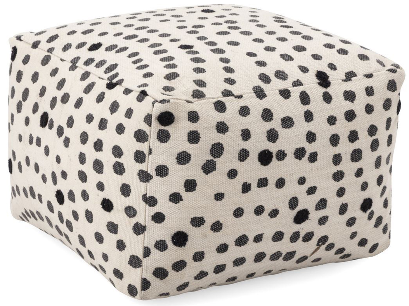 "Black and White Polka Dot Pouf 23""W x 16""H"